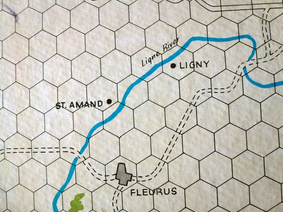 Ligny on the map for Waterloo by Avalon Hill