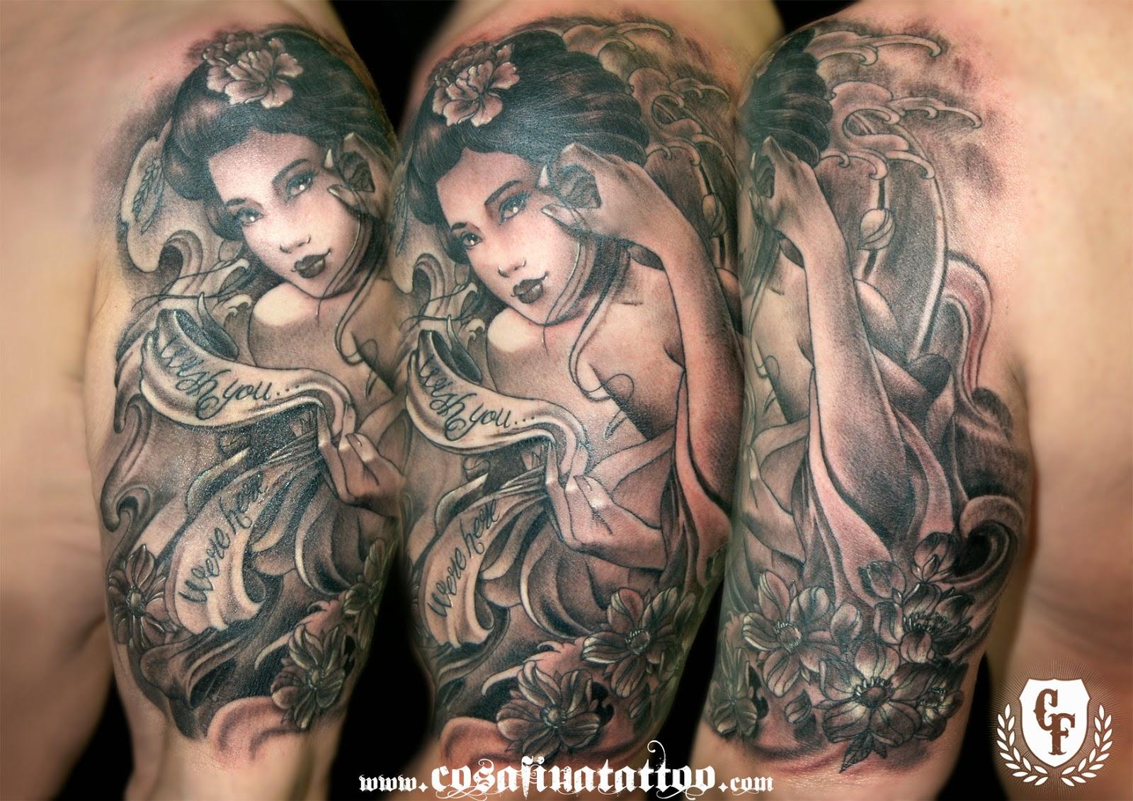 Cosafina tattoo carlos art studio tatuaje geisha flores - Tattoos geishas japonesas ...