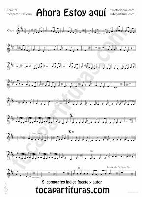 Tubepartitura Ahora Estoy Aquí partitura para Oboe tema Pop - Rock de la cantante colombiana Shakira