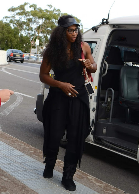 Tennis Player, @ Serena Williams Departs Sydney Domestic Airport on her way to Perth