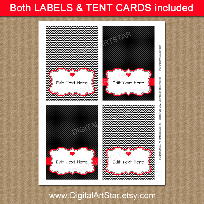 Black chevron Valentine's Day tent cards