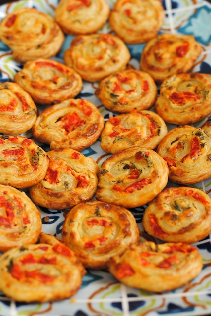 Red Pepper and Basil Pinwheels