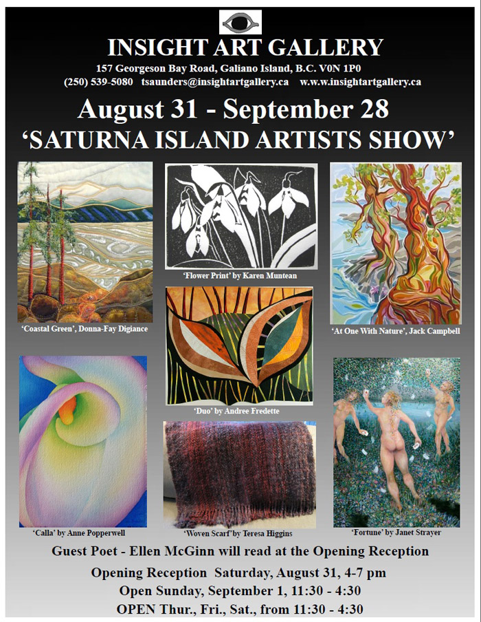 Saturna Artists Show 2013 at Insight Art Gallery, Galiano Island, BC