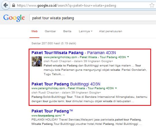 kata kunci paket tour wisata padang ranking 1 setelah dipasang jasa backlink