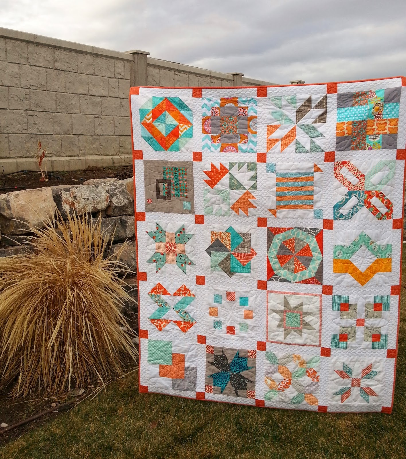 Aqua and Orange Sampler Quilt