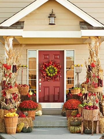 Pamela 39 s blog farm stand fresh autumn door decorating idea for Farm door ideas