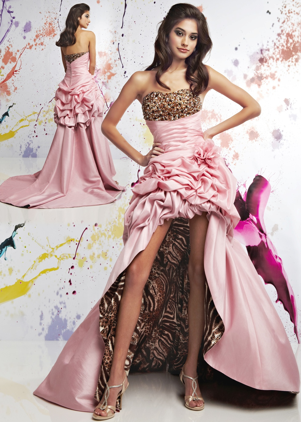 strapless sweetheart pink high low prom dress with print design
