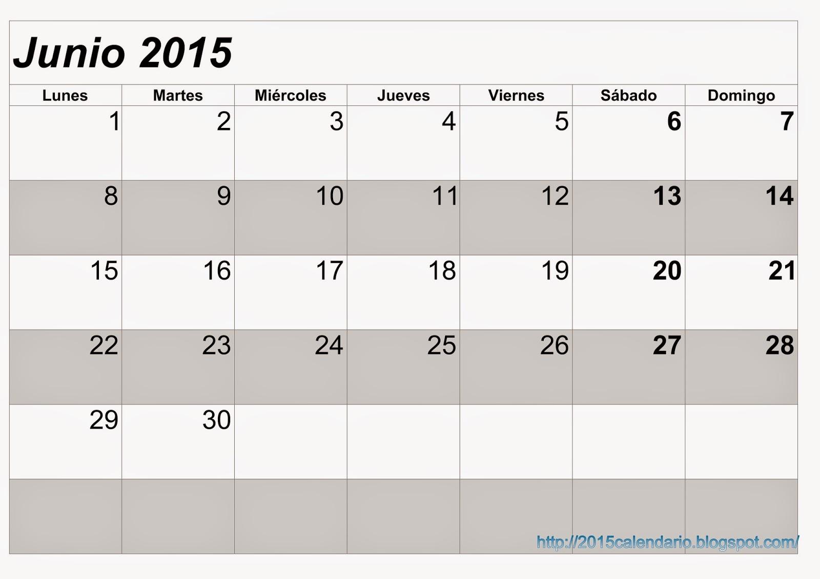 Calendario Junio 2015 Para Imprimir, Calendario 2015 para imprimir ...