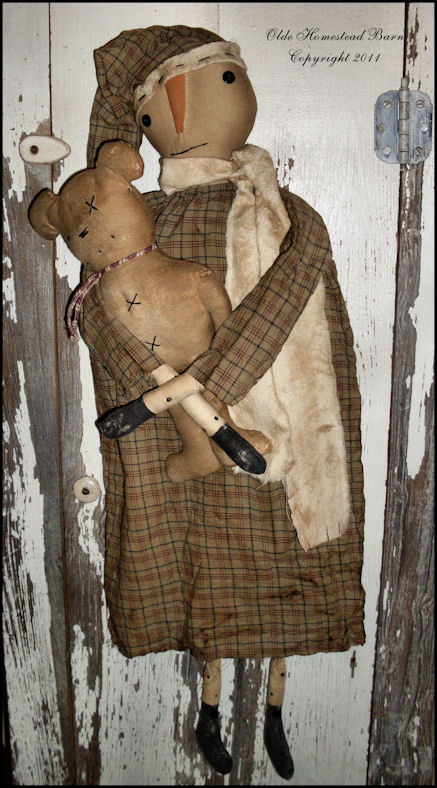 Olde Homestead Barn New Prim Snowman With Teddy Bear Pattern