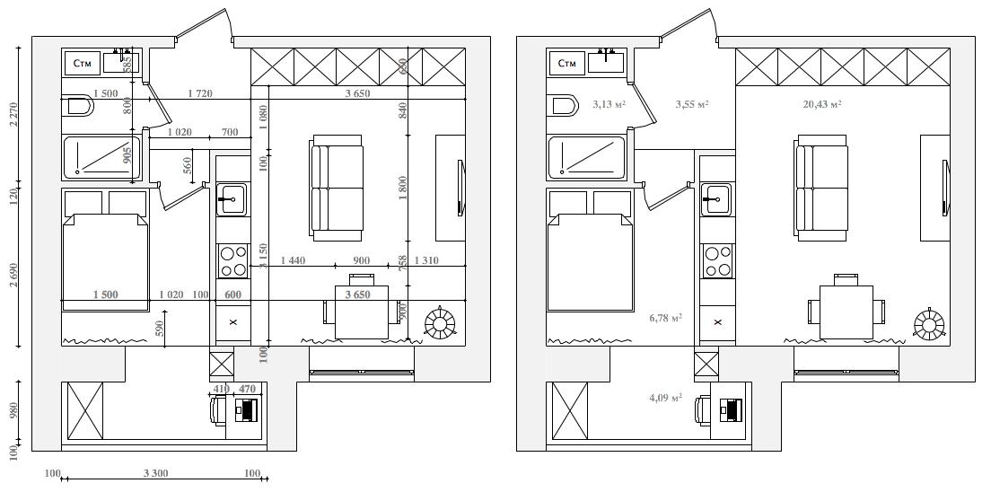 Планировочное решение комнаты