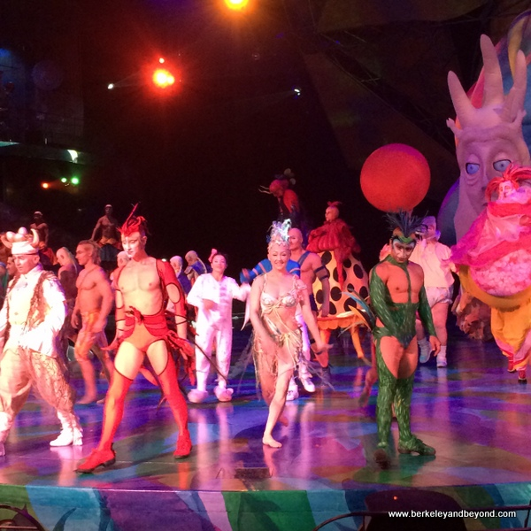 colorful ending of Mystere at Treasure Island in Las Vegas