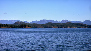 Ocean, cortes island and the coastal mountains.