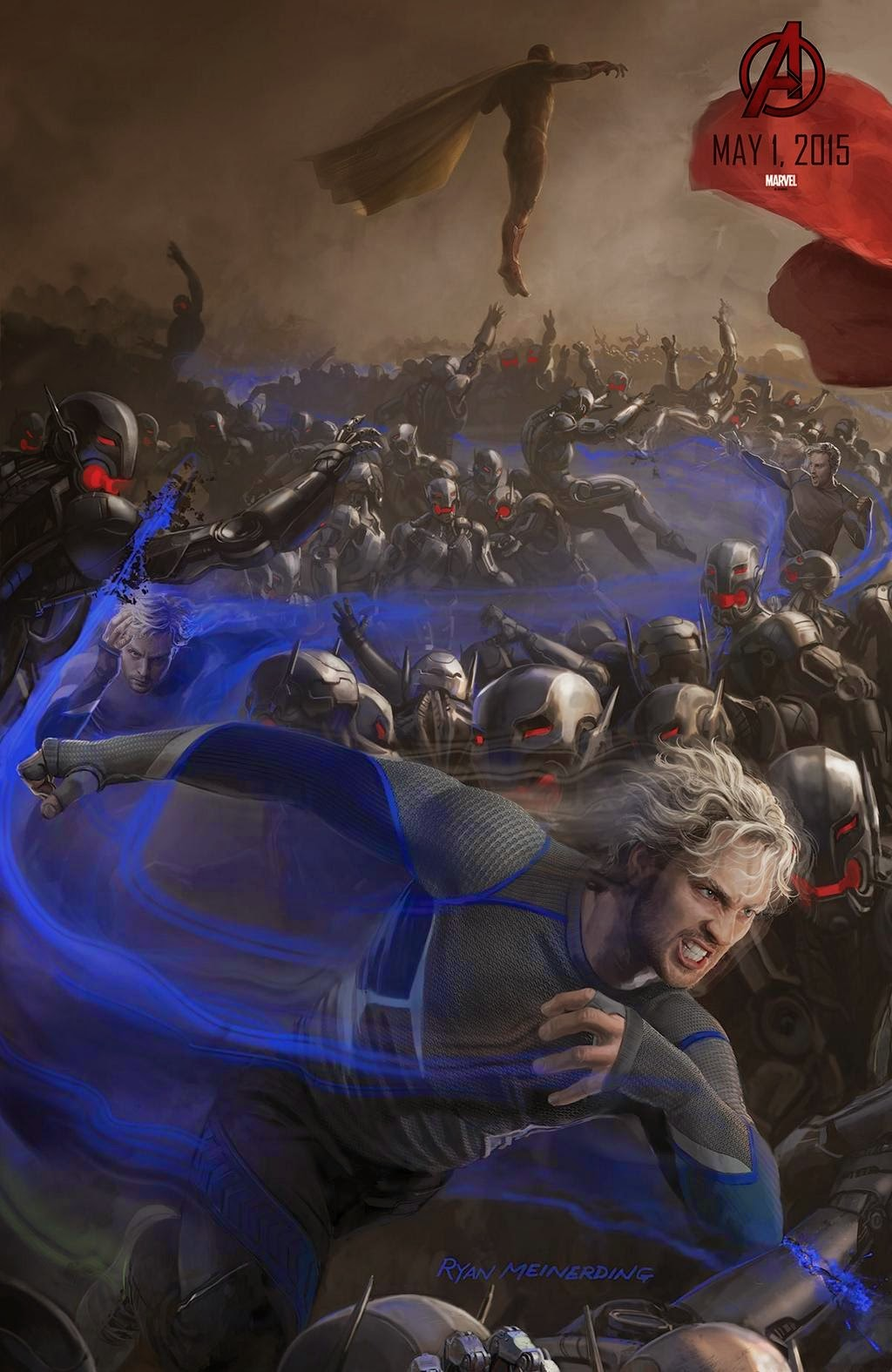 San Diego Comic-Con 2014 Exclusive Avengers Age of Ultron Concept Art Movie Posters by Marvel - Aaron Taylor-Johnson as Quicksilver & Paul Bettany as The Vision
