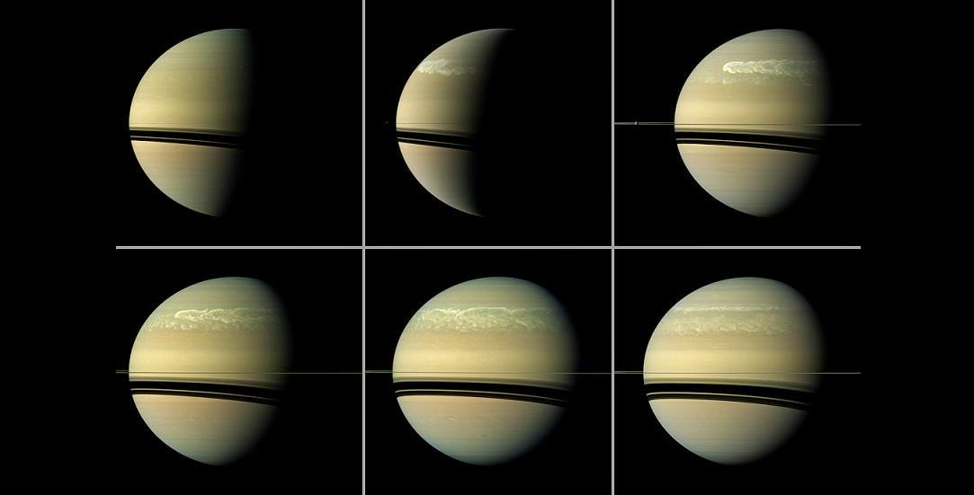 This series of images from NASA's Cassini spacecraft shows the development of a huge storm of the type that erupts about every 30 years on Saturn. Image Credit: NASA/JPL-Caltech/SSI