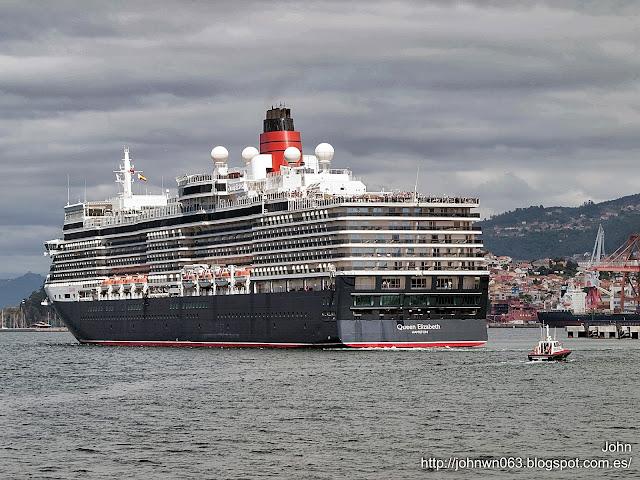 fotos de barcos, imagenes de barcos, queen elizabeth, cunard line, vigo, cruceros