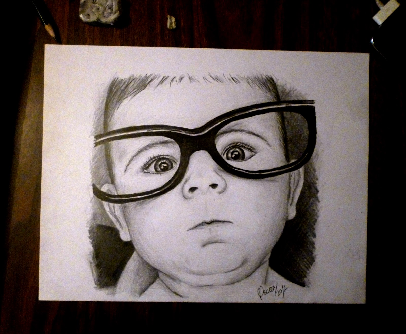 Dibujo de bebe a lpiz  Pencil drawing of baby