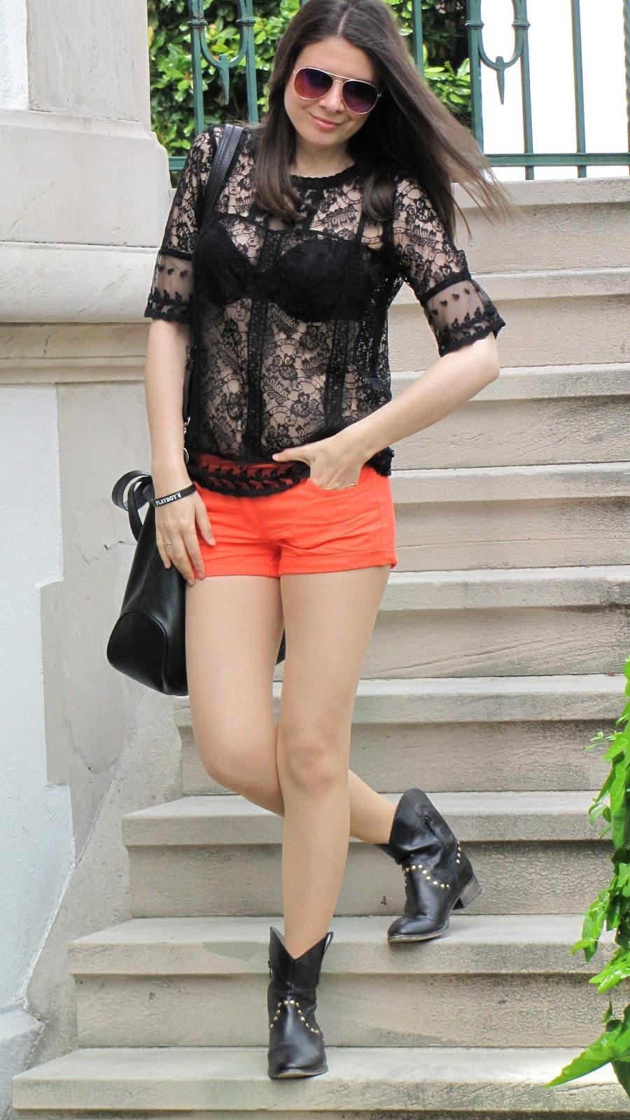 lace top, black lace blouse, orange shorts