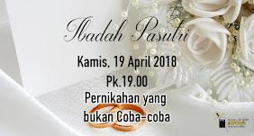 Ibadah Pasutri, Kamis 19 April 2018 Jam 19.00