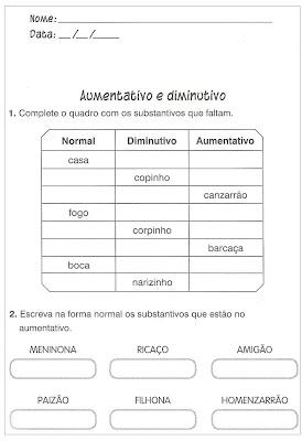 Atividades Educativas de Português - Aumentativo e diminutivo