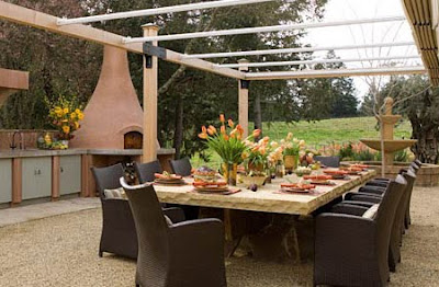 Creative juice nothing but blue skies for Spanish style outdoor kitchen