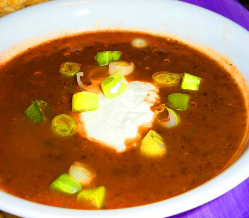 Tasty black bean and salsa soup with scallions and sour cream