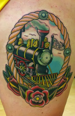 Cartoon Train Tattoo