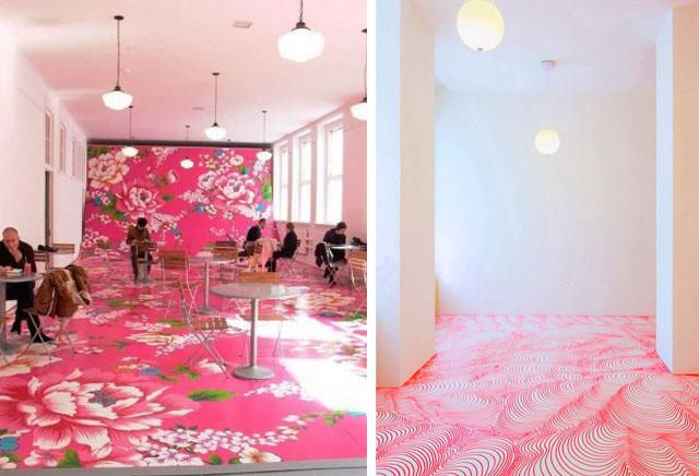 sol peint rose