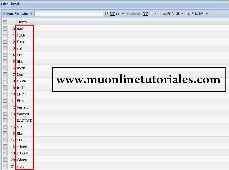 Editando archivo filter bmd