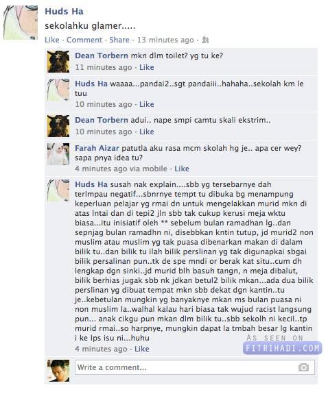 Fakta Sebenarnya Pelajar Bukan Islam makan Di Tandas