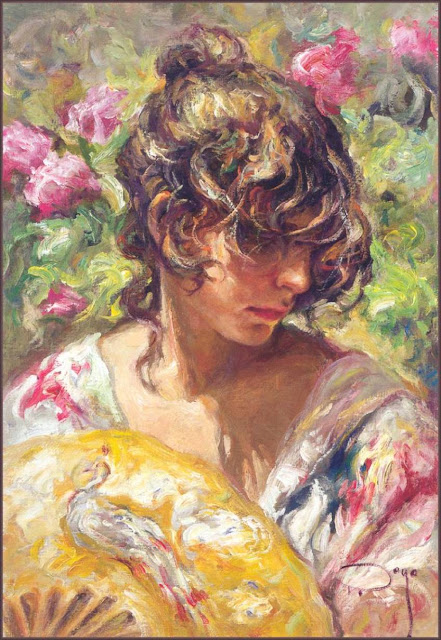 lady with a fan, Jose Royo,impressionism