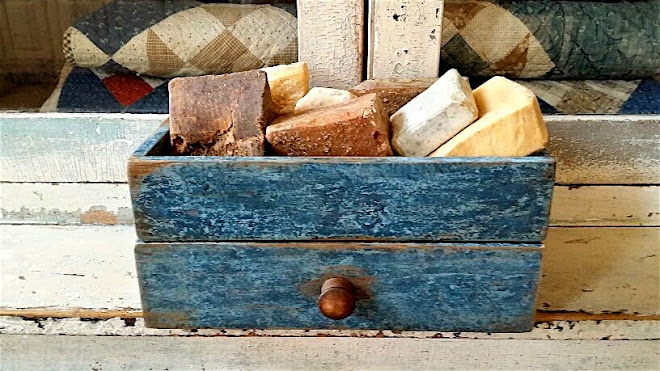 CUSTOM ORDER -  REPRODUCTION DRAWER BOX WITH STORAGE IN MARBLE BLUE (SOAPS NOT INCLUDED) - SOLD