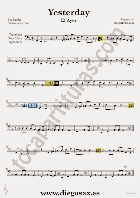 Tubescore Yesterday by The Beatles Sheet music for Trombone Pop - Rock