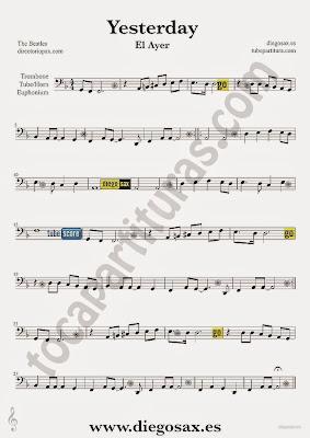 Tubescore Yesterday by The Beatles Sheet music for Trombone Pop - Rock