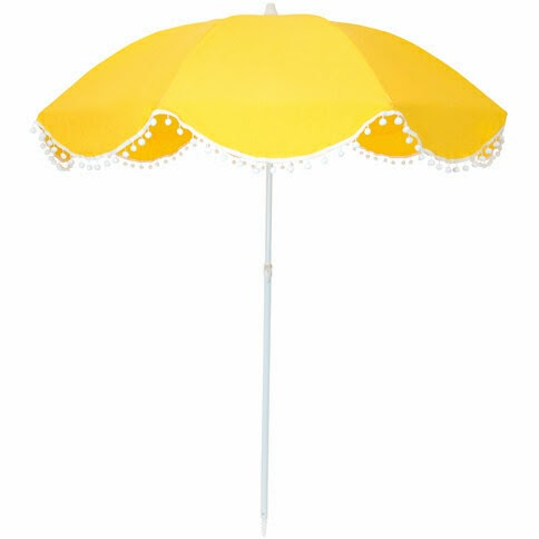 Bellame Yellow Pom Pom Beach Umbrella