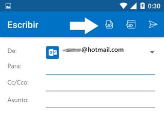Como adjuntar archivos App móvil Outlook
