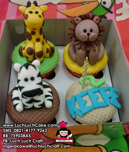 Cupcake Binatang Jerapah, Singa, Zebra