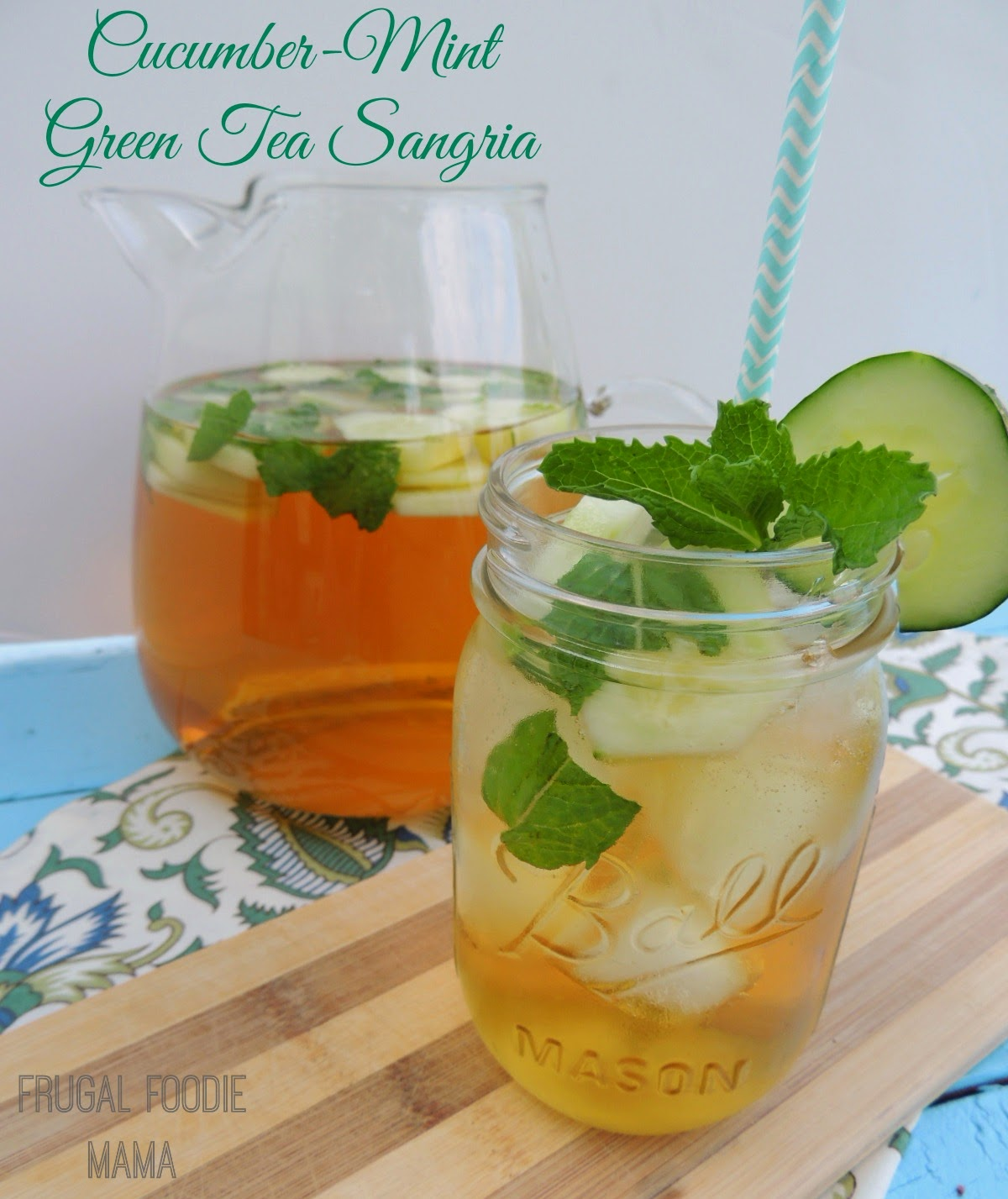 Cucumber-Mint Green Tea Sangria via thefrugalfoodiemama.com #cocktail