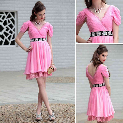 Hot Pink V-Neck Knee Length Dress with Cap Sleeve