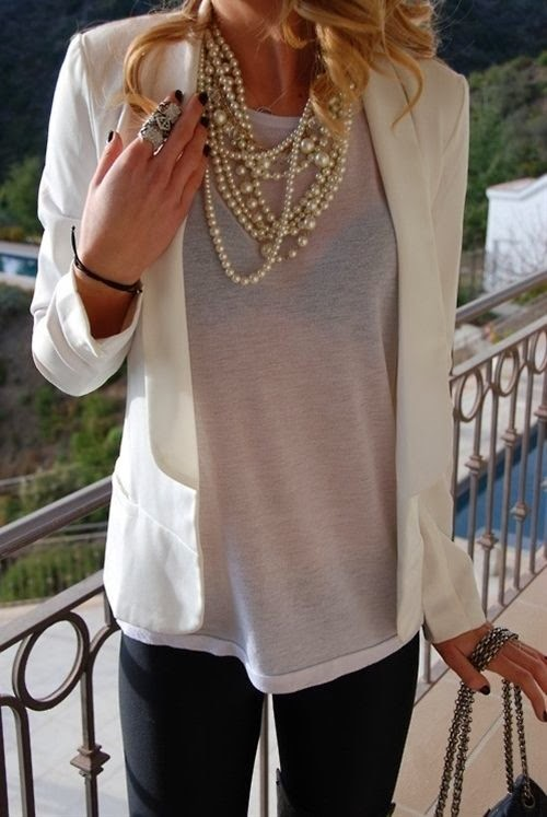 Pearls, grey t shirt, blazer, skinnies
