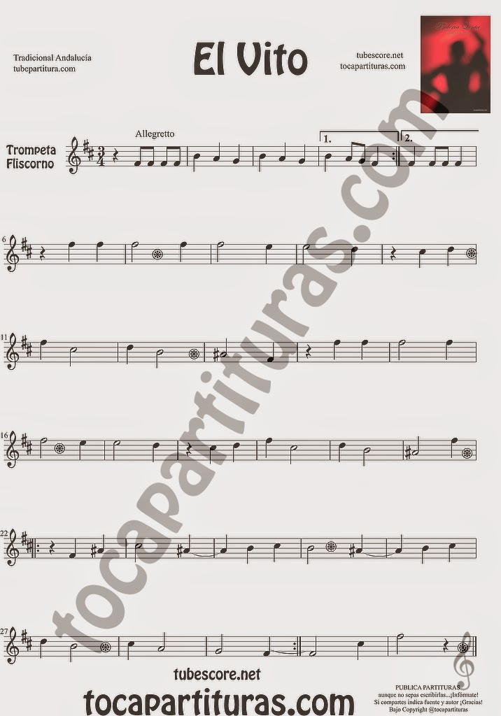El Vito Partitura de Trompeta y Fliscorno Sheet Music for Trumpet and Flugelhorn Music Scores