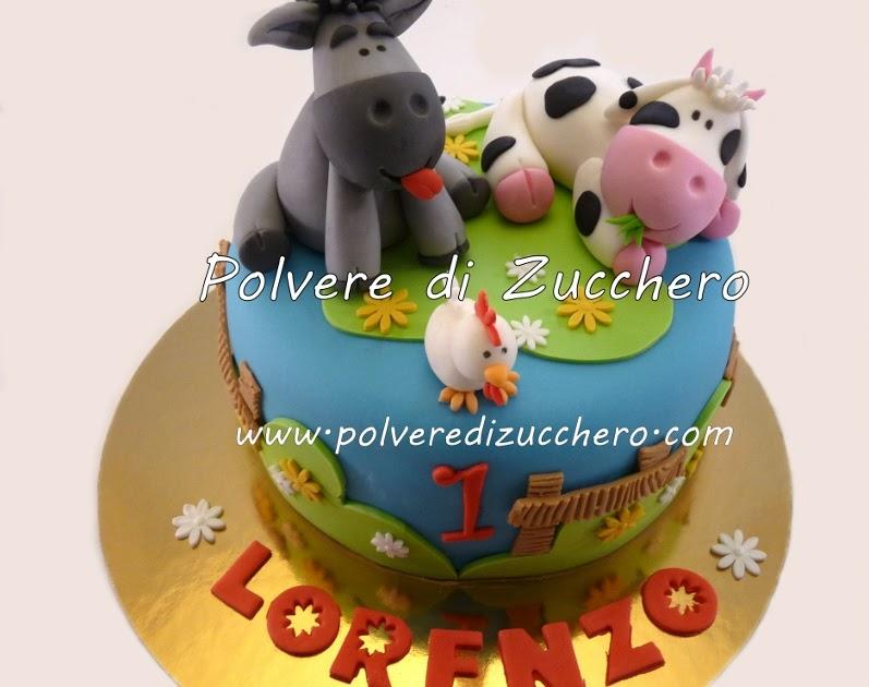 Torta animali della fattoria mucca e asinello polvere for Decorazione torte e cupcake