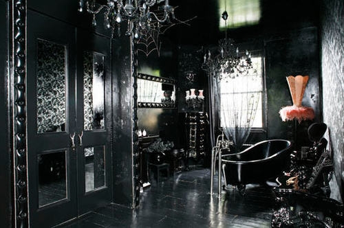 Ideas for bedrooms black gothic opulent bedroom for Gothic bathroom ideas