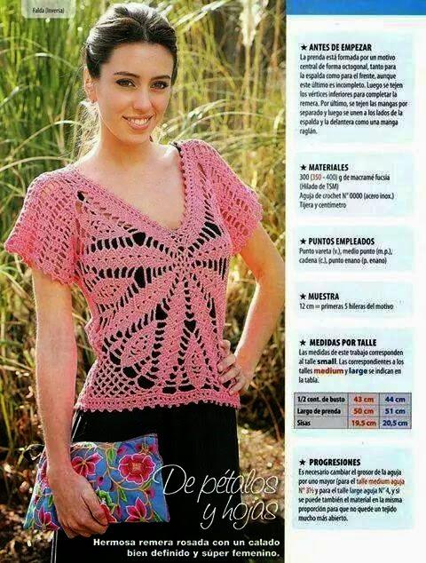 Blusa crochet con centro de flor y hojas