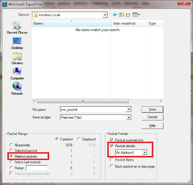 Exporting Marked packets to a file in Wireshark