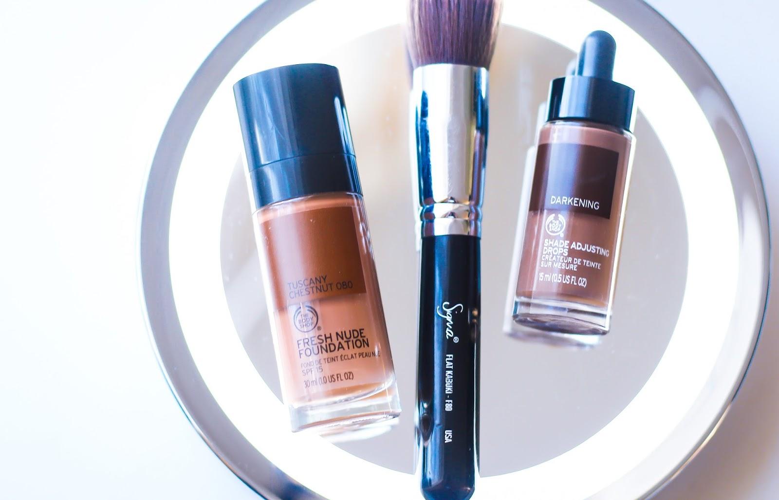 The Body Shop Fresh Nude Foundation  (Tuscany Chestnut) and Darkening Shade Adjusting Drops