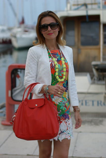 summer outfit, floral print orange dress, lace jacket, Longchamp le cuir bag, Fashion and Cookies