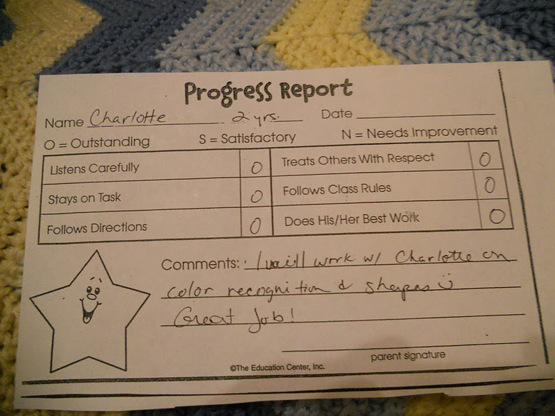 preschool report card preschool report card