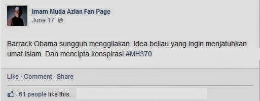 IMAM MUDA AZLAN DAKWA MH370 DIJUNAMKAN KE LAUT DAN PENUMPANG DIBERI UBAT PELALI