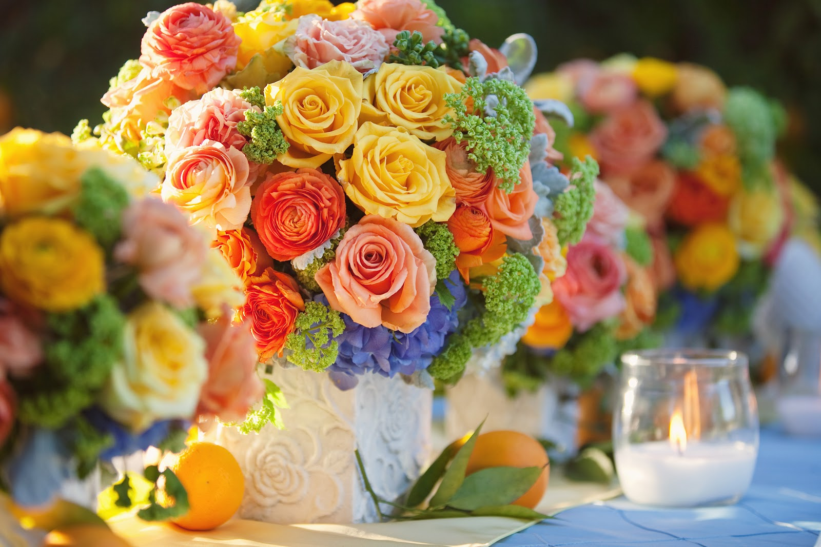 Orchard wedding citrus wedding colors heavenly blooms for Summer wedding colors pictures