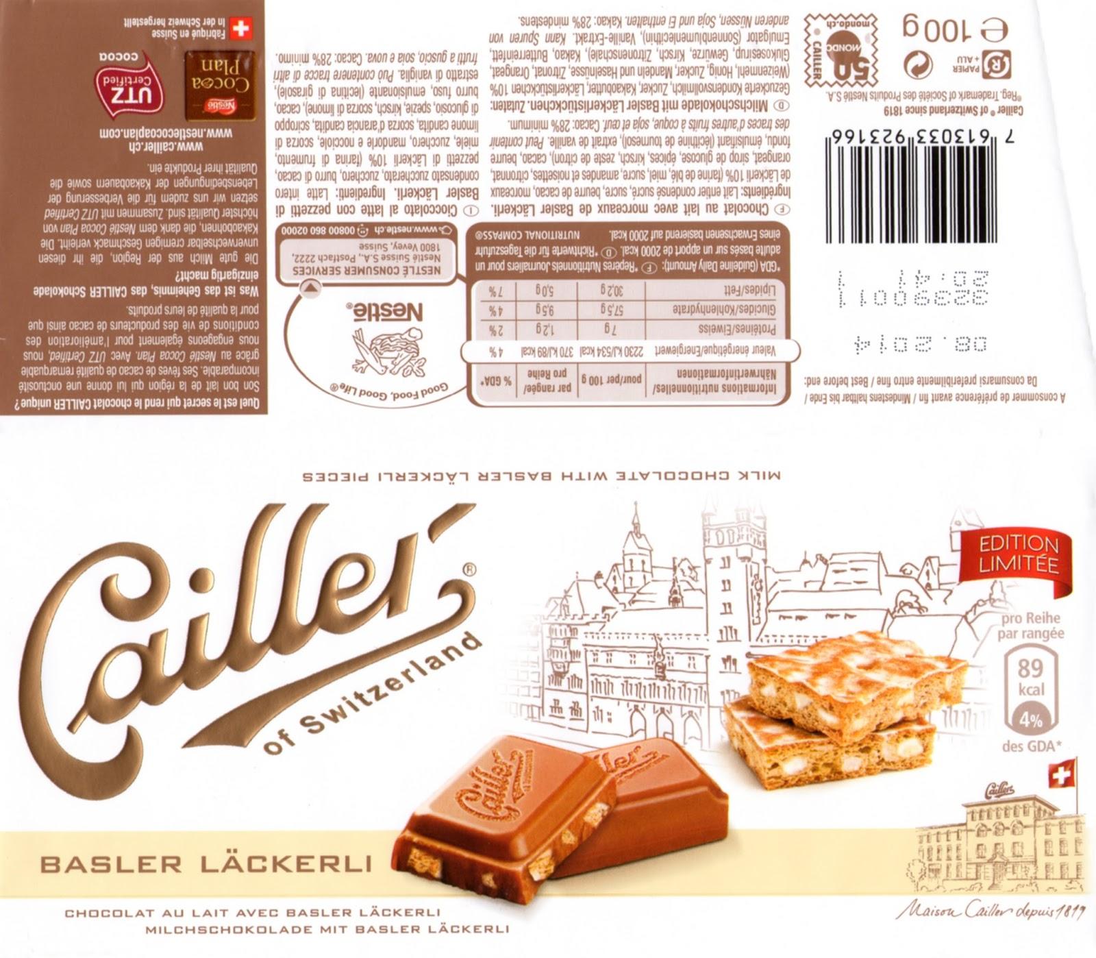tablette de chocolat lait gourmand cailler lait basler läckerli